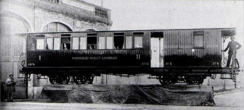 Présentation officielle de la voiture-wagon du Fourvière Ouest-Lyonnais (FOL) à la fin du XIXe siècle