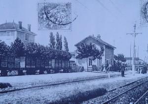 Craponne : la gare à l'époque de la vapeur sur la ligne Fourvière Ouest-Lyonnais (FOL) - branche vers Vaugneray