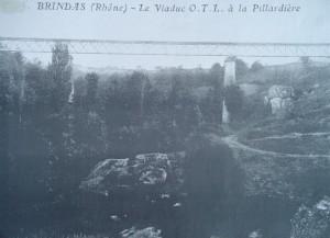 Brindas : viaduc à la Pillardière après rachat par de la compagnie Fourvière Ouest lyonnais (FOL) par l'OTL, ancêtre des TCL lyonnais