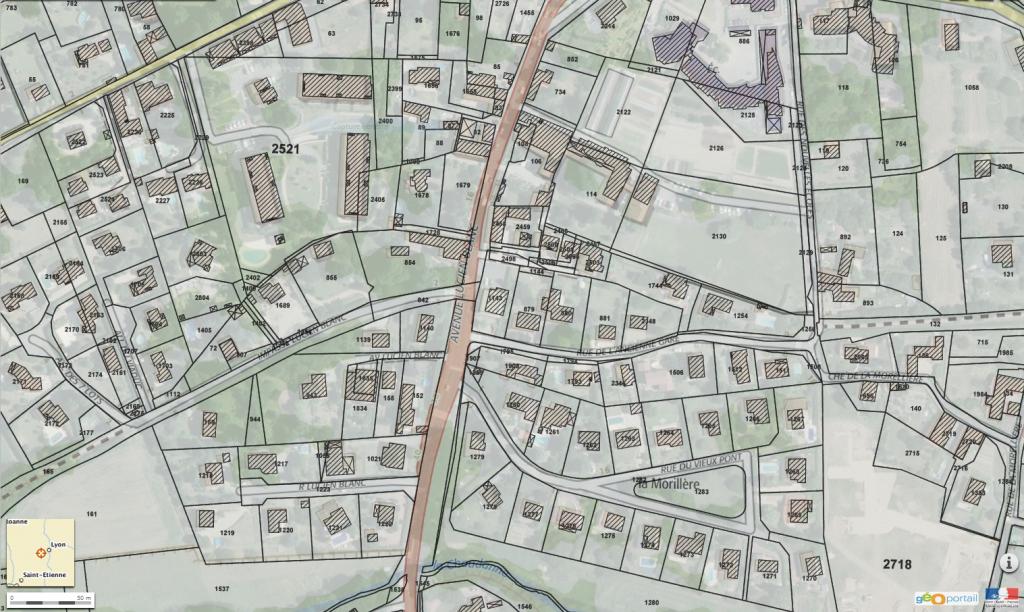 Le FOL à Francheville (Bel-air) : quel tracé entre les deux sections en pointillés marrons ?! Dans certains cas, même le parcellaire ne suffit pas. Solution : les vues aériennes anciennes. (capture d'écran du site Géoportail - http://www.geoportail.gouv.fr)