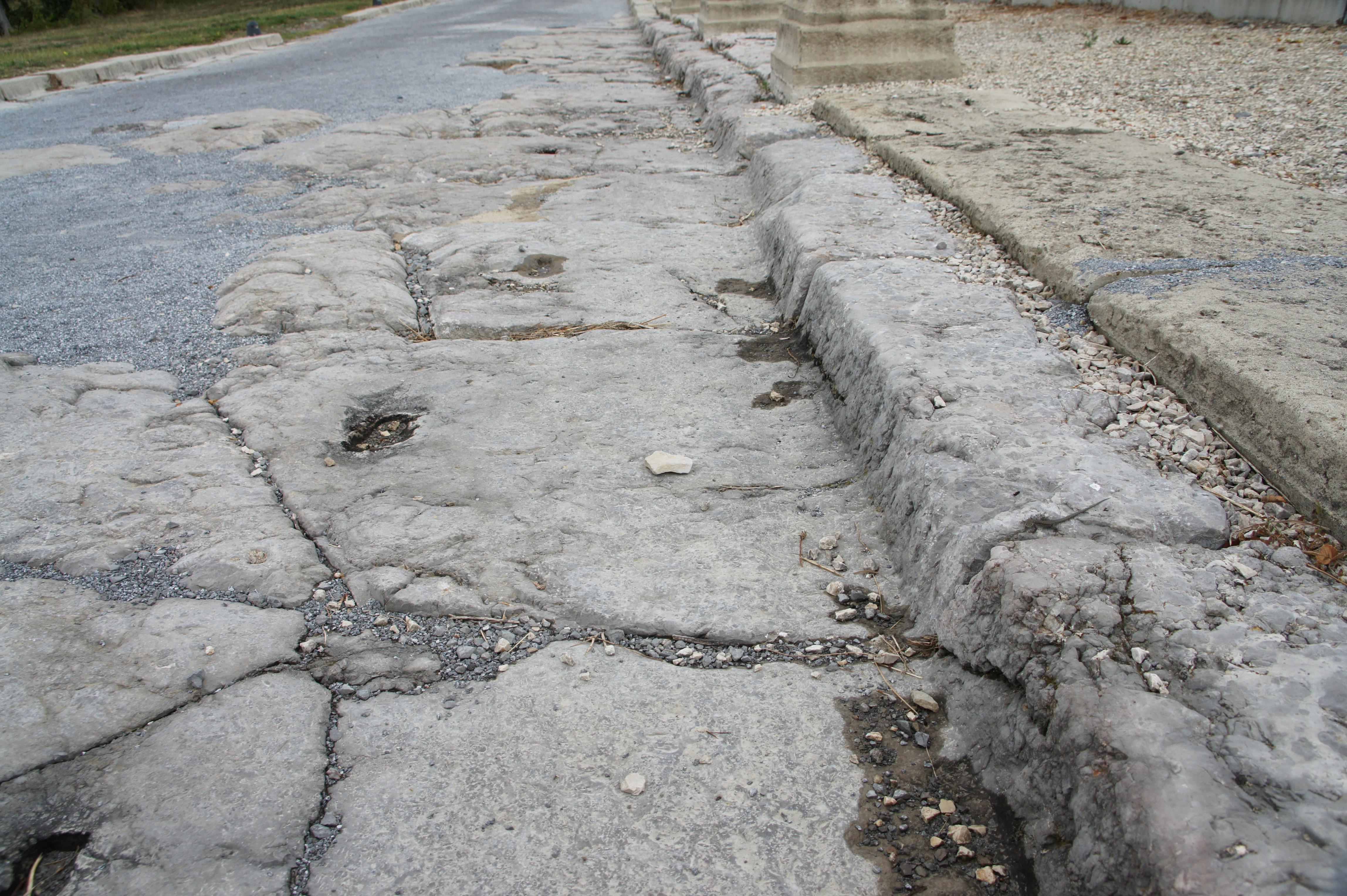 Les ruines d'une voie antique à Alba-la-Romaine (Ardèche) en septembre 2013 (crédit photo : Marc Sivignon)