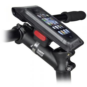 Support de smartphone pour vélo, modèle Phonebag de marque Rixen und Kaul sur support Klickfix Quad (photo du site http://www.klickfix.de)