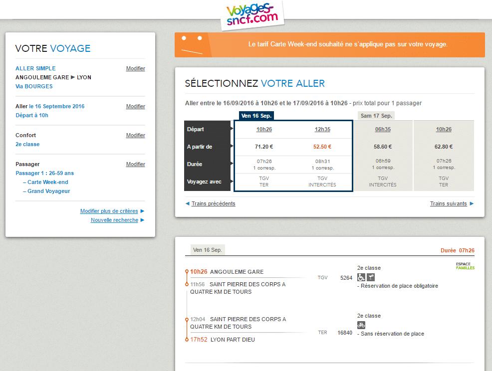 Capture d'écran du site voyages-sncf.com sur un trajet Angoulême - Lyon via Bourges avec indication des Intercités