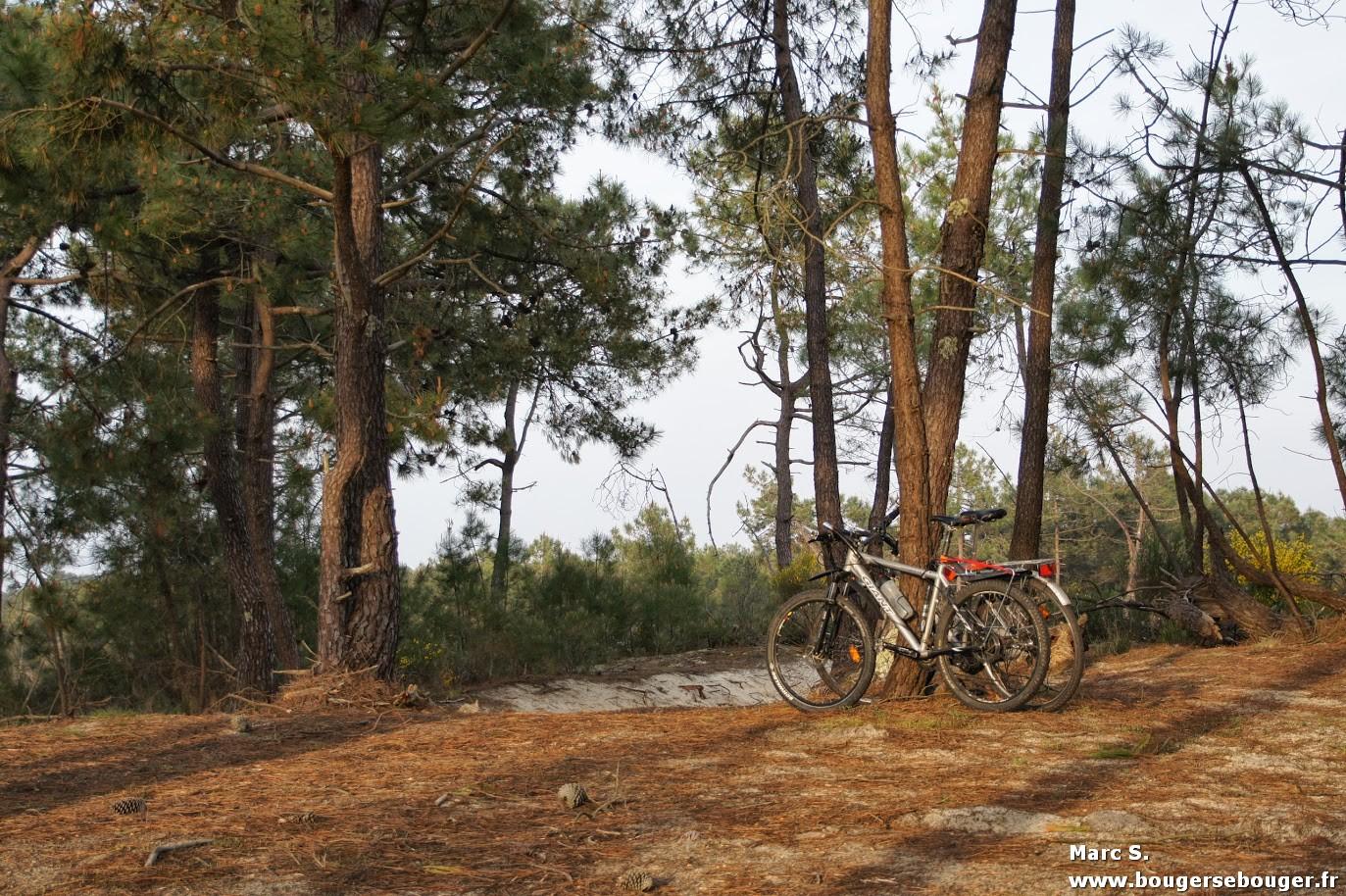 Vélos attachés dans les dunes près de l'océan atlantique pour rejoindre la plage et se reposer de notre rando vélo entre Charentes, Saintonge et Médoc (avril 2014)