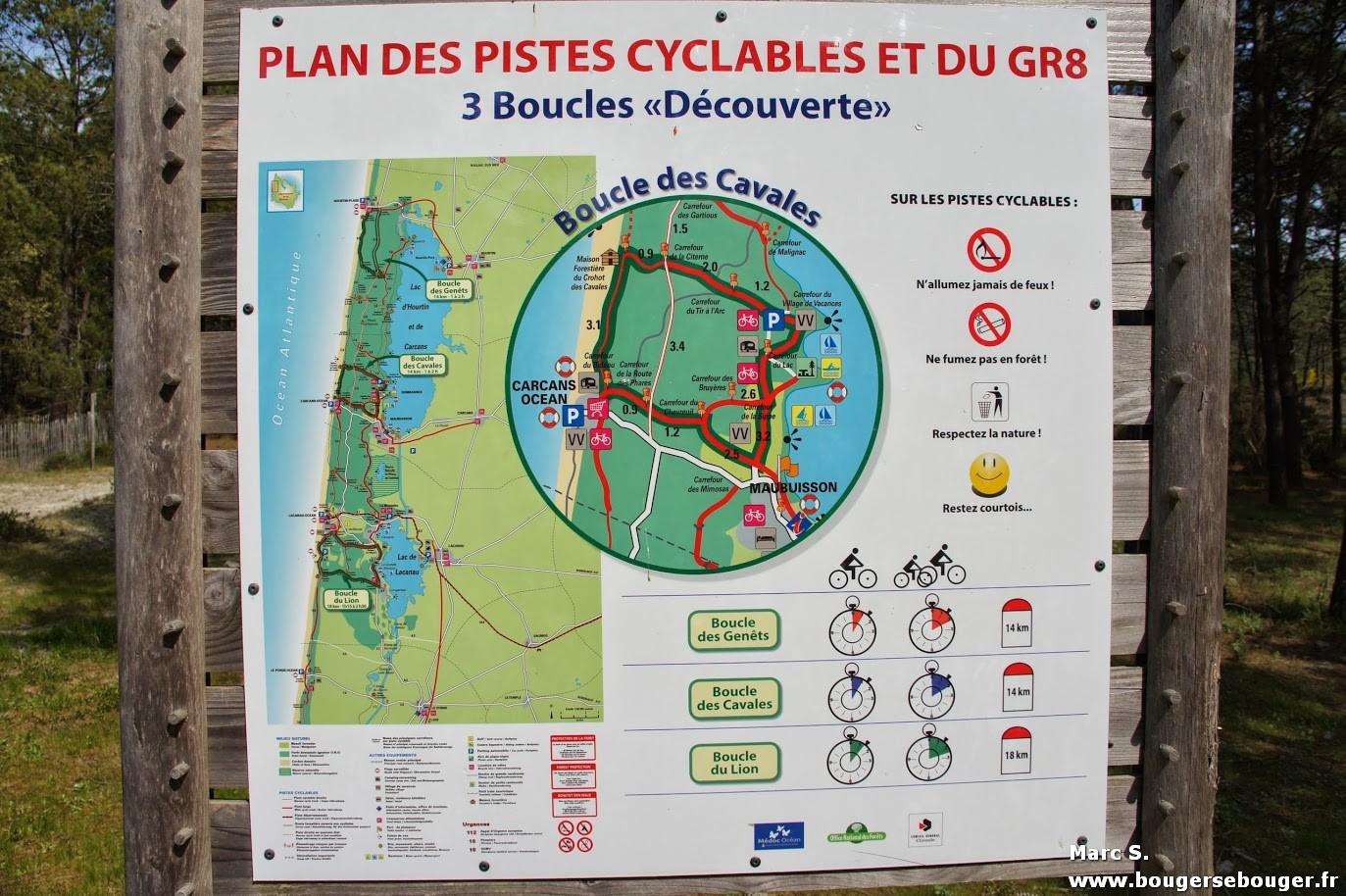 Plan des pistes et itinéraires cyclables à proximité du domaine départemental de sports et de loisirs de Bombannes (près du lac d'Hourtin) tel que vu lors d'une rando entre Charentes, Saintonge et Médoc en avril 2014.